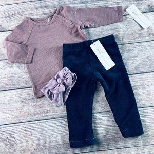NWT 3-6m Peek Navy Cord Legging + Purple tee & bow